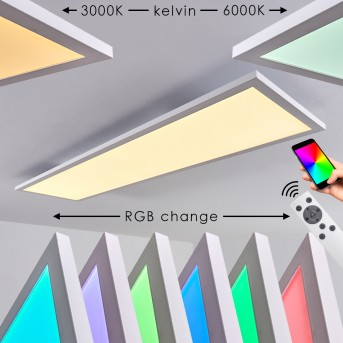 Salmi Deckenpanel LED Weiß, 1-flammig, Fernbedienung, Farbwechsler