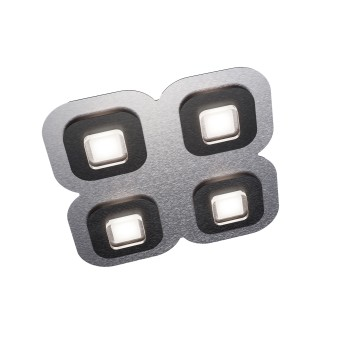 Grossmann AP Deckenleuchte LED Schwarz, Aluminium, 4-flammig