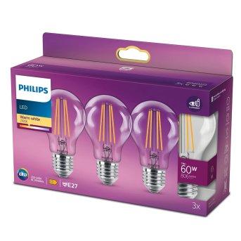 Philips LED E27 3er Pack 60 Watt 2700 Kelvin 806 Lumen