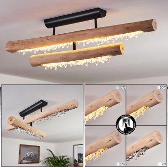 Rodeche Deckenleuchte LED Schwarz, Holz hell, 1-flammig