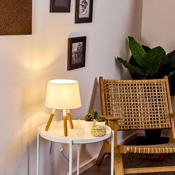 Leirado Tischleuchte Weiß, Holz dunkel, 1-flammig