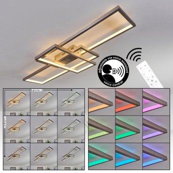 Momahaki Deckenleuchte LED Nickel-Matt, 1-flammig, Fernbedienung