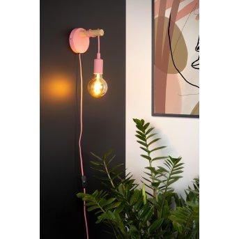 Lucide Pola Wandleuchte Pink, Holz dunkel, 1-flammig