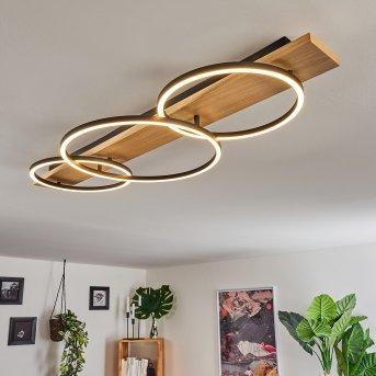 Pompu Deckenleuchte LED Schwarz, Holz hell, 3-flammig