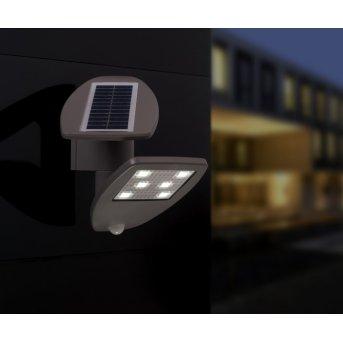 Lutec ZETA Solar-Außenwandleuchte LED Grau, 1-flammig, Bewegungsmelder