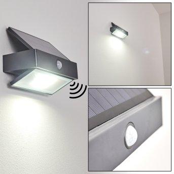 Wiborg Solar-Außenwandleuchte LED Anthrazit, 1-flammig, Bewegungsmelder
