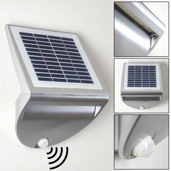Lesum Solar-Außenwandleuchte LED Silber, 1-flammig, Bewegungsmelder