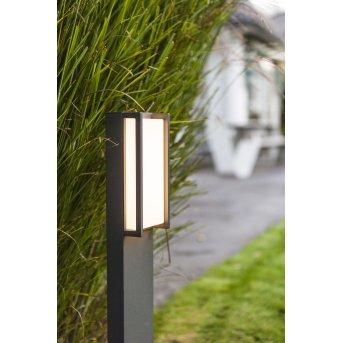 Lutec Qubo Wegeleuchte LED Anthrazit, 1-flammig, Farbwechsler