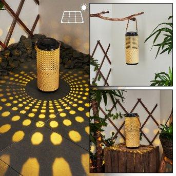 Sessivi Solarleuchte LED Schwarz, Braun, Holz hell, 1-flammig