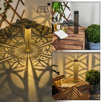 Hankinson Solarleuchte LED Schwarz, Gold, 1-flammig