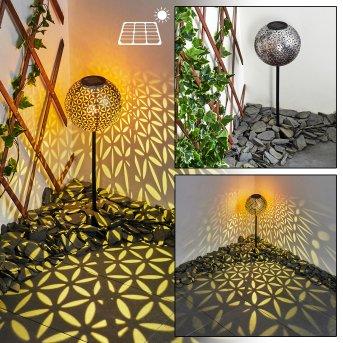 Samoao Solarleuchte LED Schwarz, Silber, Kupferfarben, 1-flammig