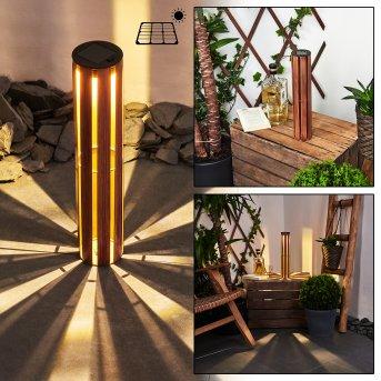 Hankinson Solarleuchte LED Schwarz, Kupfer, Holz dunkel, 1-flammig
