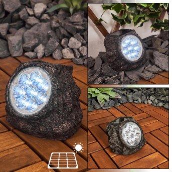 Sameo Solar-Steinleuchte LED Braun, 8-flammig