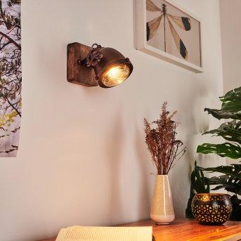 Herford Wandleuchte Rostfarben, Holz dunkel, 1-flammig