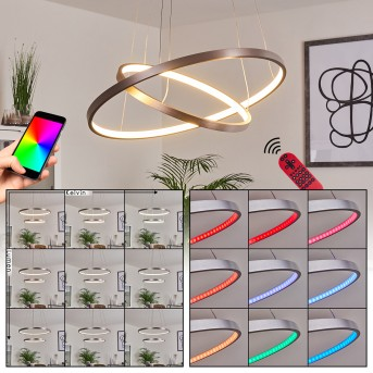 Canisteo Pendelleuchte LED Silber, 2-flammig, Fernbedienung, Farbwechsler