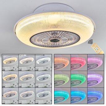 Riccione Deckenventilator LED Weiß, 1-flammig, Fernbedienung, Farbwechsler