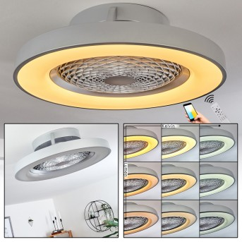 Penon Deckenventilator LED Silber, 1-flammig, Fernbedienung