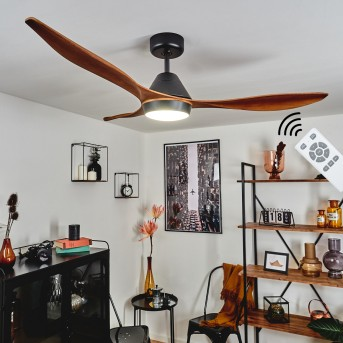 Follseland Deckenventilator LED Schwarz, Dunkelbraun, Holzoptik, 1-flammig, Fernbedienung