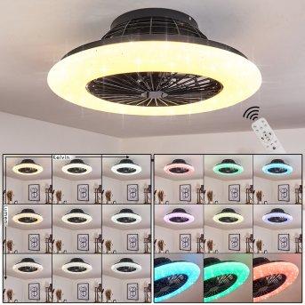 Piraeus Deckenventilator LED Schwarz, 1-flammig, Fernbedienung, Farbwechsler