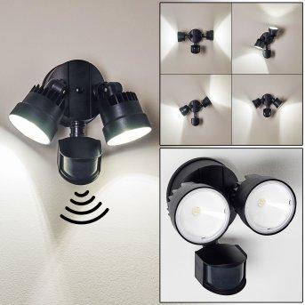 Emmerlev Außenwandleuchte LED Schwarz, 2-flammig, Bewegungsmelder