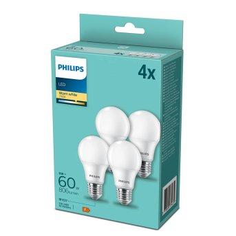 Philips LED 4er Pack E27 8 Watt 2700 Kelvin 806 Lumen
