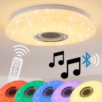 Deckenleuchte Hemlo LED Weiß, 1-flammig, Fernbedienung, Farbwechsler