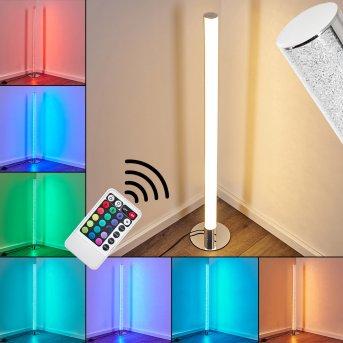 Flaut Stehleuchte LED Chrom, 1-flammig, Fernbedienung, Farbwechsler