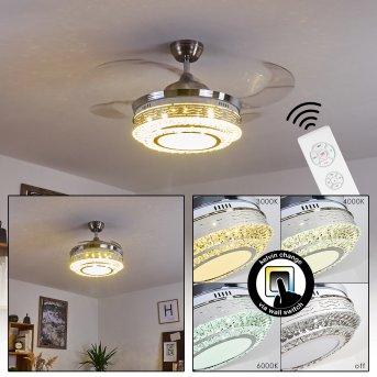 Bendigo Deckenventilator LED Nickel-Matt, Transparent, Klar, 1-flammig
