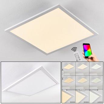 Salmi Deckenpanel LED Aluminium, Weiß, 1-flammig, Fernbedienung