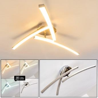 Tusula Deckenleuchte LED Edelstahl, 3-flammig