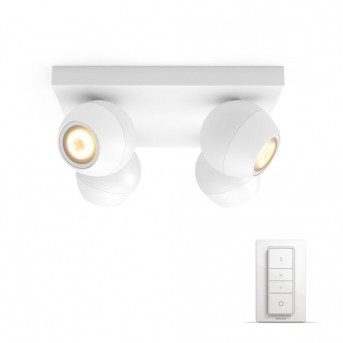 Philips Hue Ambiance White Buckram Deckenspot Basis-Set Weiß, 4-flammig, Fernbedienung