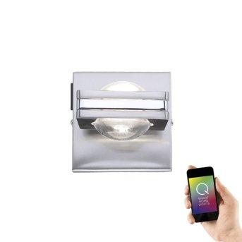 Paul Neuhaus Q-Fisheye Wandleuchte LED Edelstahl, 2-flammig, Fernbedienung, Farbwechsler