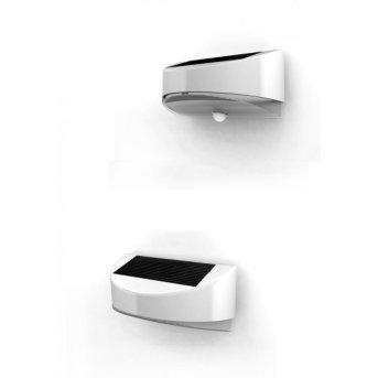 Lutec BREAD Solar-Außenwandleuchte LED Silber, 1-flammig, Bewegungsmelder