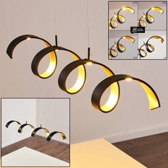 Rezat Pendelleuchte LED Schwarz-Gold, 1-flammig