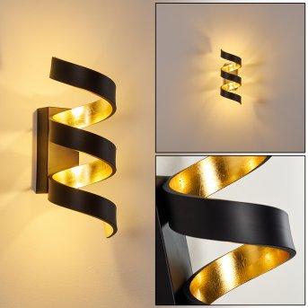 Rezat Wandleuchte LED Schwarz-Gold, 1-flammig