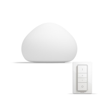 Philips Hue Ambiance White Wellner Tischleuchte Basis-Set Weiß, 1-flammig, Fernbedienung