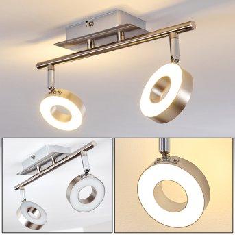 Russell Deckenspot LED Nickel-Matt, Chrom, 2-flammig