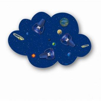 Waldi Deckenleuchte Wolke Weltall Blau, 3-flammig