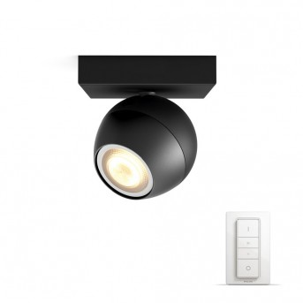 Philips Hue Ambiance White Buckram Deckenspot Basis-Set Schwarz, 1-flammig, Fernbedienung