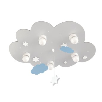 Waldi Cloudi Deckenleuchte Grau, Weiß, 5-flammig